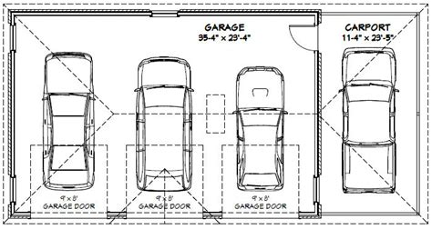 average 3 car garage size car garage carport excellent floor plans building plans