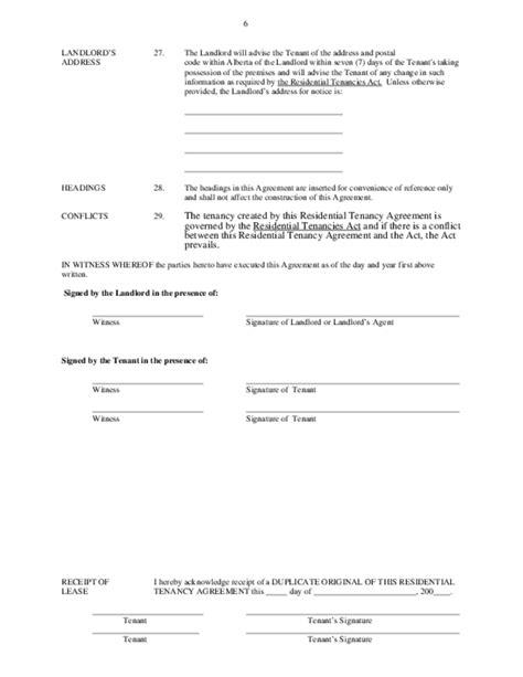 lease agreement template alberta residential tenancy agreement alberta free