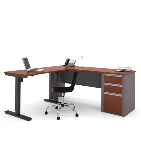 Adjustable Table L Connexion L Desk Including Electric Height Adjustable Table In Bordeaux Slate