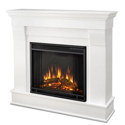 Electric Fireplace With Real real chateau electric fireplace in white