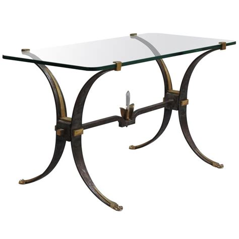Fine French Wrought Iron And Brass Base Coffee Table With Glass Wrought Iron Coffee Table