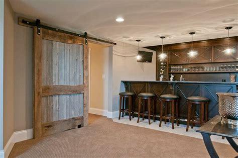 with bar barn barn door basement door reclaimed wood