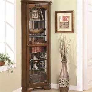 Corner Curio Cabinet Brown Glass Curio Cabinets For Luxury Decoration