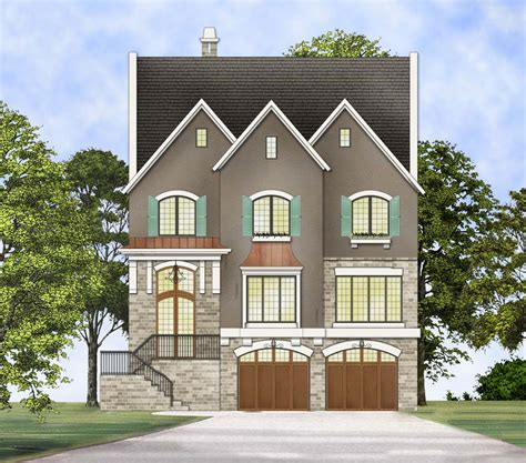 upscale three story traditional house plan 12295jl