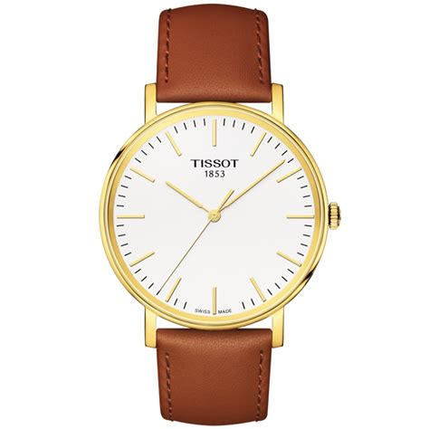 Tissot Gold Leather tissot everytime 38mm yellow gold pvd brown leather