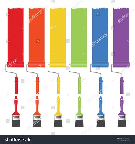 paint brushes rollers paint different stock vector 561872677