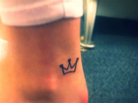 small tiara tattoo crown foot small