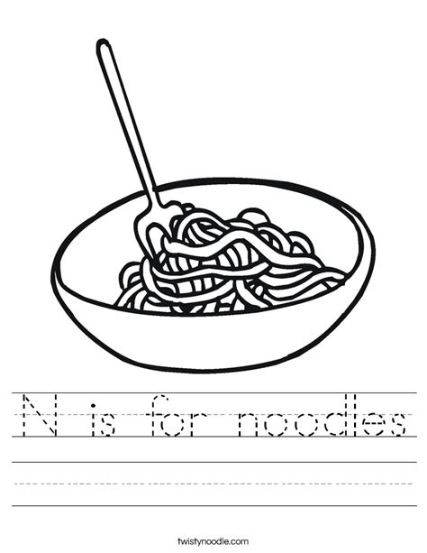 N Is For by N Is For Noodles Worksheet Twisty Noodle