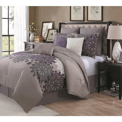 purple and taupe bedroom taupe purple grey gray modern medallion crest 9 piece