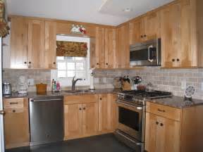 Subway Tile Ideas Kitchen by Shaker Style Maple Cabinets Subway Tile Backsplash