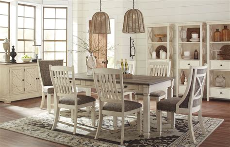 Farmhouse Dining Room Set Bolanburg White And Gray Rectangular Dining Room Set D647