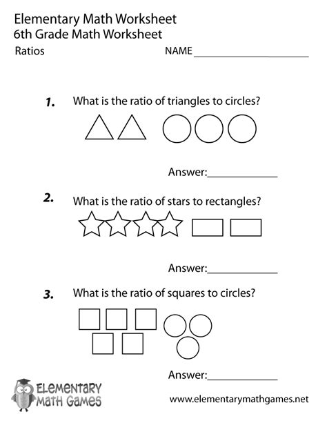 Math Worksheets 6th Grade by Free Printable Ratios Worksheet For Sixth Grade