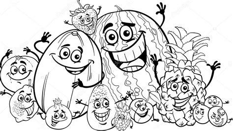 imagenes de verduras a blanco y negro dibujos animados graciosos frutas para colorear libro
