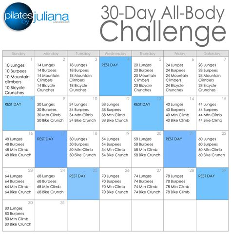 30 days of challenge 30 day all challenge pilates by juliana