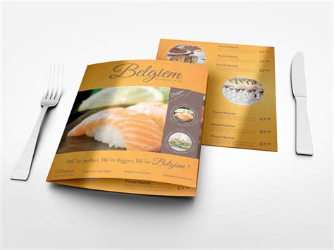 menu design mockup half fold menu mock up 14x8 5 inches by idesignstudio