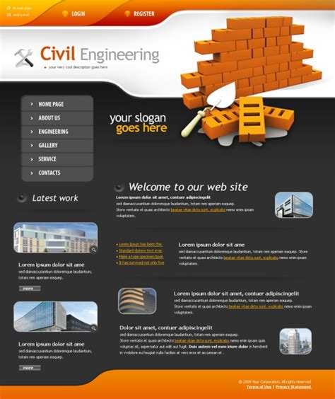 templates for construction website road works web template 4343 construction