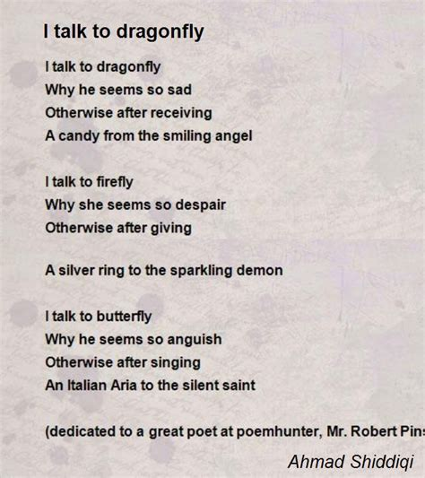 i talk to dragonfly poem by ahmad shiddiqi poem hunter