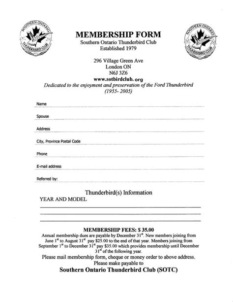 member card application form template application printable membership application form