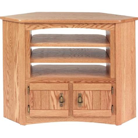 Solid Oak Mission Style Corner Tv Cabinet 41 Quot The Oak