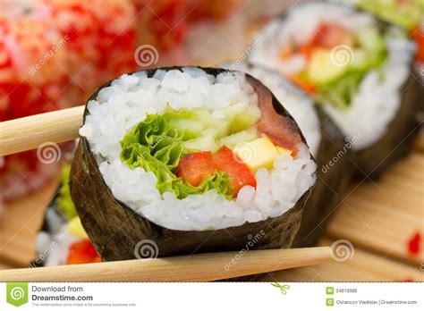 Sushi Kitchen Vegetarian Japanese Food Vegetarian Sushi Roll Royalty Free Stock Image Image