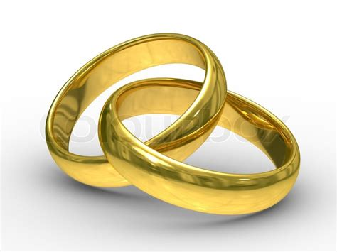 Eheringe Ornament by Two Gold Wedding Rings Isolated 3d Image Stock Photo