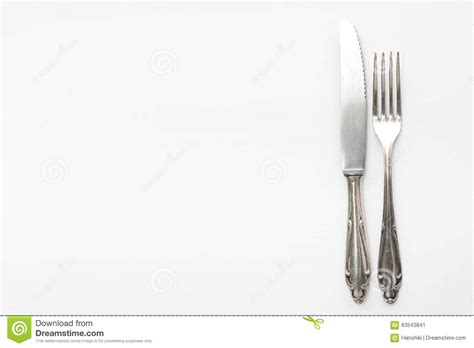 beautiful flatware knife fork fancy silver cutlery on white stock image