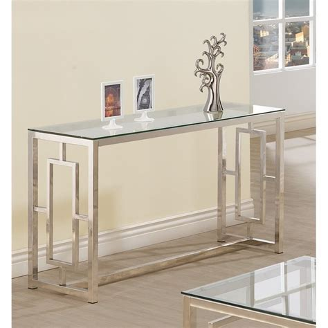 contemporary glass sofa table coaster contemporary glass top sofa table in satin nickel