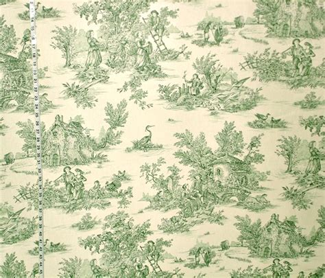 Toile Curtains Green Green Toile Fabric