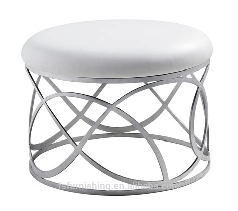 Modern Ottomans And Stools Jr 06 Modern Contemporary White Color Genuine Leather Tufted Leisure Neoclassic