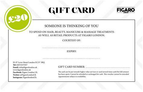 Gift Card London - figaro london gift card
