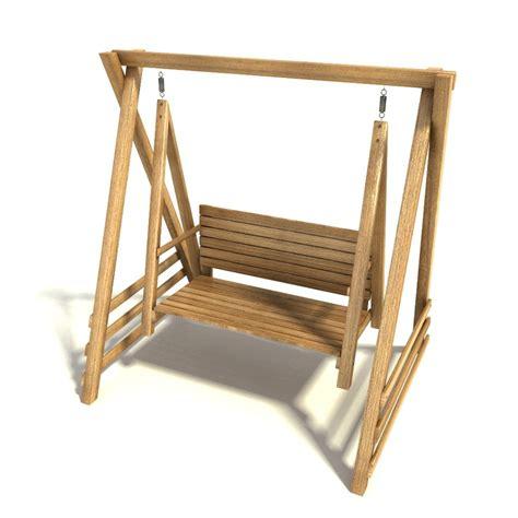 wooden swing bench seat 3dsmax wooden swing seat