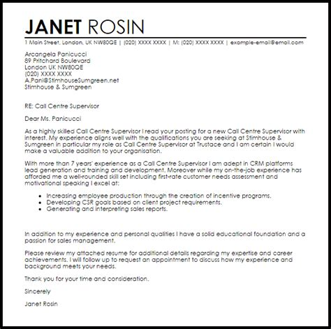 cover letter for supervisor call centre supervisor cover letter sle livecareer