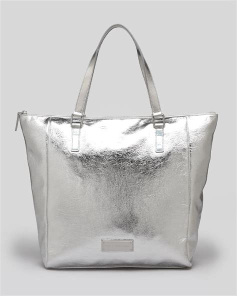 Marc Large Shiny Plastic Tote lyst marc by marc tote take me totes foil in metallic