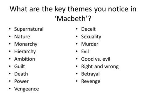 key themes in macbeth macbeth themes sketch themes create a sketch that