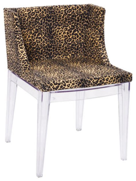 leopard accent chair with clear legs set of 2