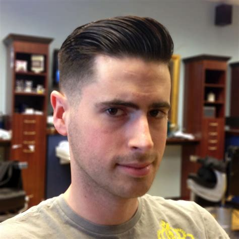 pompadour haircut boys comb over fade with beard