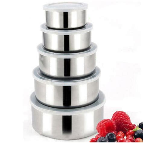 Protect Fresh Box Mangkuk Stainless 5 Pcs behokic 5pcs set stainless steel food storage containers box mixing bowls with airtight lids