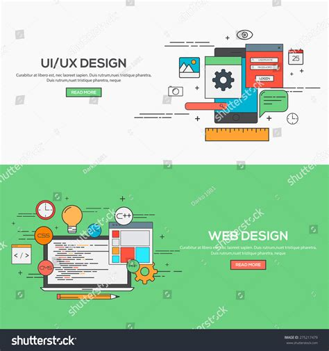 homepage design concepts set of flat line banner design concept for ui design and web design concepts web banner and