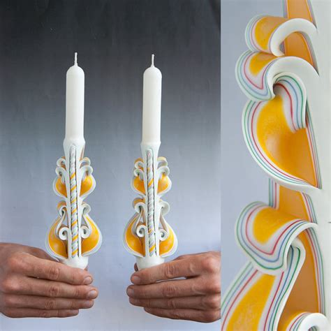 patterned taper candles white candle set taper candles carved candles