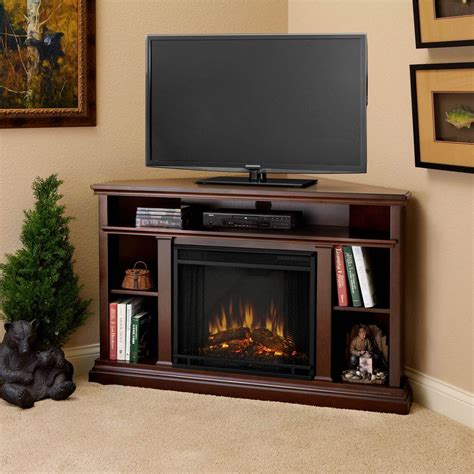 corner media cabinet with fireplace real flame churchill 51 in corner media console electric