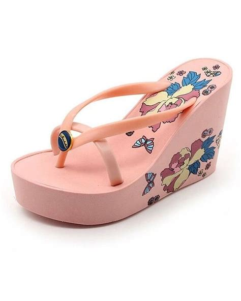high heel flip flop s fashion platform wedge high heel flip flops