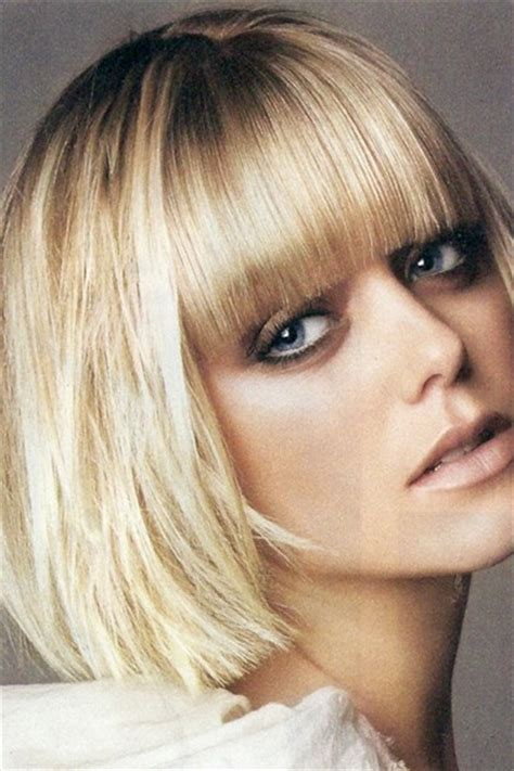 blunt bangs hairstyles blonde images blunt blonde bob with bangs hair pinterest