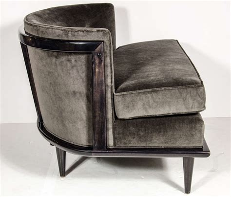 pair of luxe mid century modern barrel back slipper chairs at 1stdibs