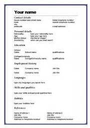 Cv Template Uk Word Worksheet Cv Template In Word Esl Cv Template And Worksheets