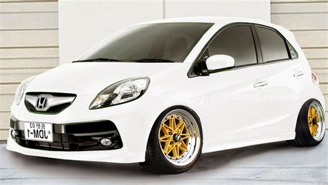 Alarm Honda Brio boncel modif modifikasi honda brio putih velg resing