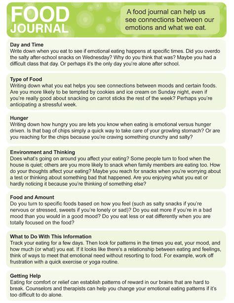 printable food journal for students food journal