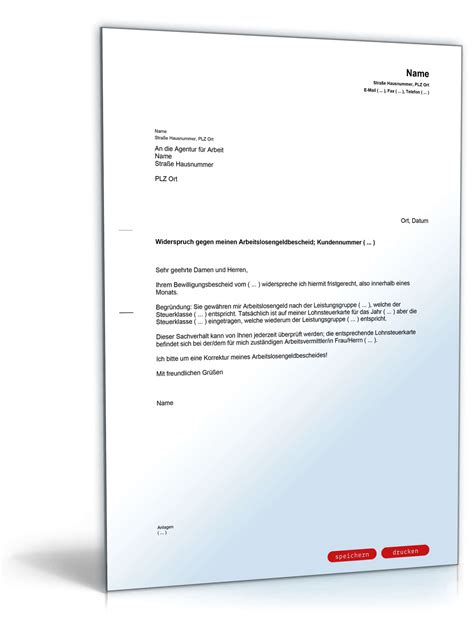 Musterbriefe Widerspruch Einlegen Einspruch Gegen Arbeitslosengeldbescheid Muster Vorlage Zum