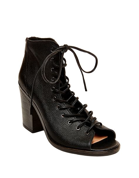 steve madden temptng leather lace up peep toe boots in