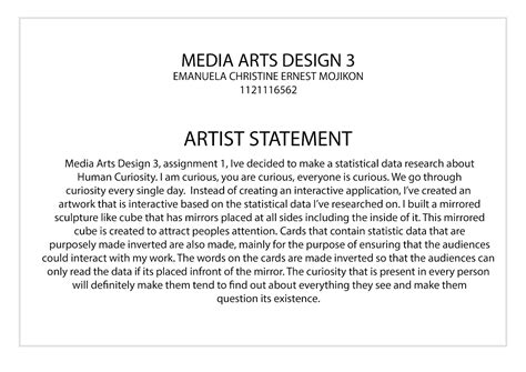 layout of an artist statement emma