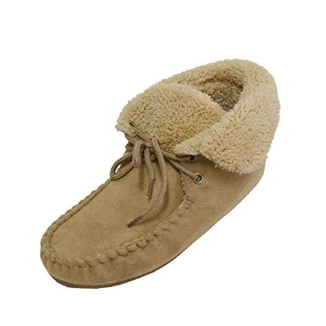 moccasin bootie slippers 187 women s ankle hi moccasin bootie slippers faux suede fur